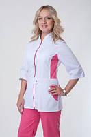 Женский медицинский костюм на молнии верх белый, низ розовый