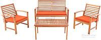 Комплект складной садовой мебели из дерева светлого (2 кресло, диван и стол)