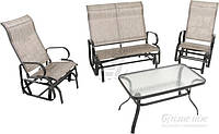 Комплект садовой мебели  (2 кресло качалки, диван качалка и стол стеклянный)