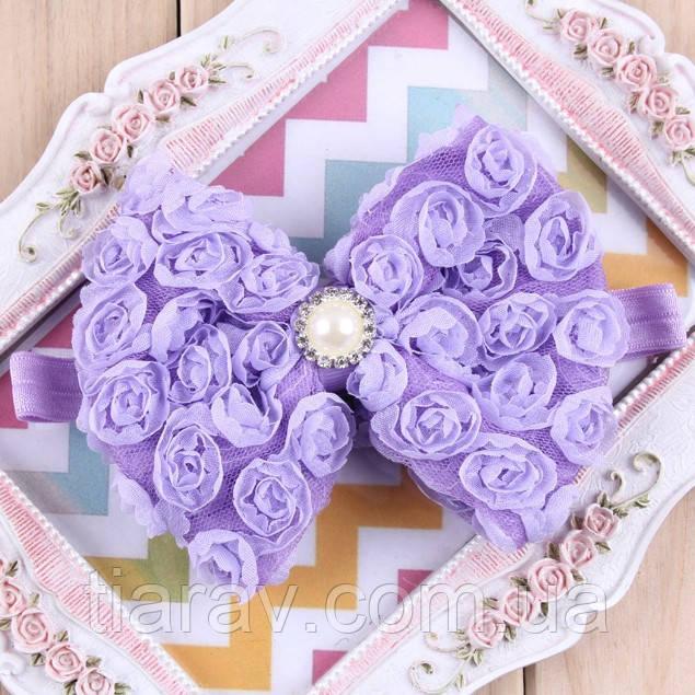 Бант для волос Кружево на повязке фиолетовый, детский бант украшения детские