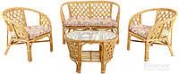Комплект садовой мебели из натурального ротанга (2 кресла, диван и стол)