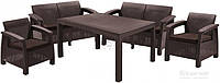 Комплект мягкой садовой мебели из искуственного ротанга (2 кресла, 2 дивана и столик)
