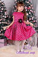 """Веселое детское платье малинового цвета в горох  """"Горох"""" (р. 122, 128, 134, 140) арт. Горох 8457"""
