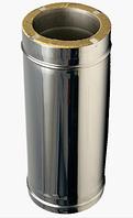 Утепленная двустенная дымоходная труба L=1м 1 мм ф100/160 (сэндвич нержавейка в нержавейке) для котлов