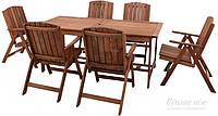 Комплект мягкой садовой мебели из дерева темного (6 стула раскладных и стол большой)