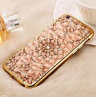 """Золотистый силиконовый чехол Кристалл с камушками Swarovski для Iphone 7 (4.7"""")"""