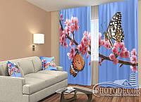 """ФотоШторы """"Две бабочки"""" 2,5м*2,9м (2 полотна по 1,45м), тесьма, фото 1"""