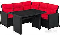 Комплект мягкой садовой мебели из искусственного ротанга черный (угловой диван и столик)