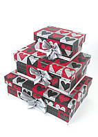 Прямоугольный подарочный комплект коробок ручной работы с сердцами разных цветов