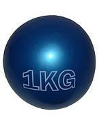 Медбол 1кг, d-17см, (плотная резина, песок). Синий