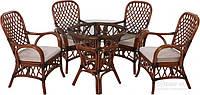 Комплект мягкой садовой мебели из натуральный ротанг, стекло (6 стула раскладных и стол большой)
