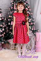 """Веселое детское платье красного цвета в горох  """"Горох"""" (р. 122, 128, 134, 140) арт. Горох 8458"""