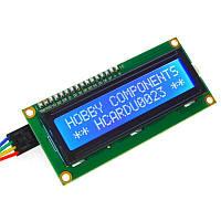 Двухстрочный символьный индикатор LCD1602 5V с подсветкой (синий)