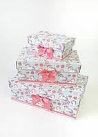 Прямоугольный подарочный комплект коробок ручной работы бирюзового цвета с милыми единорогами