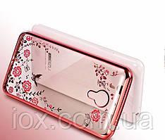 Розовый силиконовый чехол-накладка Цветы с камушками Сваровски для Meizu M3/M3s/M3s mini