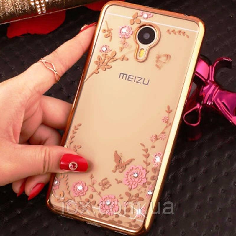 Золотистий силіконовий чохол-накладка Квіти з камінчиками Сваровскі для Meizu M3/M3s/M3s mini