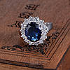 Женское кольцо с белой позолотой 18К и сапфировым фианитом, 17 размер, фото 2