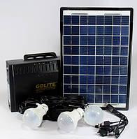 Портативная солнечная станция GD 8012 12 V-220 V, 3 LED лампы, радиоприемник, два выхода USB