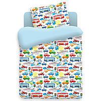 Детское постельное белье Городское движение в кроватку 100% хлопок машинки