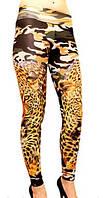 """Женские стильные цветные лосины из дайвинга """"Safari"""", с леопардовым принтом. Размеры норма в упаковке. ОПТ."""