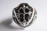 Кольцо мужское серебряное Щит с Готическим Крестом и Мечами  700350, фото 3