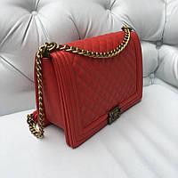 Сумка Chanel le Boy Grand макси размер красная кожа икра