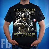 Черная мужская футболка с принтом Контр Страйк (Counter-Strike)
