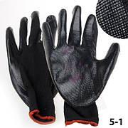Перчатки синтетические, тонкие, черные, рабочая сторона баллонная 38/(5-1)