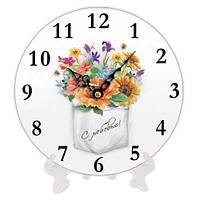 Часы круглые из дерева Букет цветов 18 см