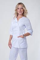Классический белый женский медицинский костюм на молнии