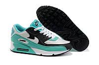 Женские кроссовки Nike Air Max 90 (бирюзовые, черные, белые)