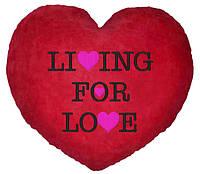 "ПОДУШКА-ВАЛЕНТИНКА В ФОРМЕ СЕРДЦА №17 ""Living for love"""