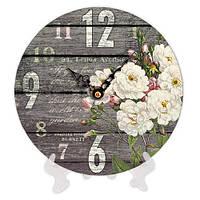 Часы для дома настольные с принтом Цветы 18 см