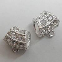 Бусина металлическая со стразами светлое серебро
