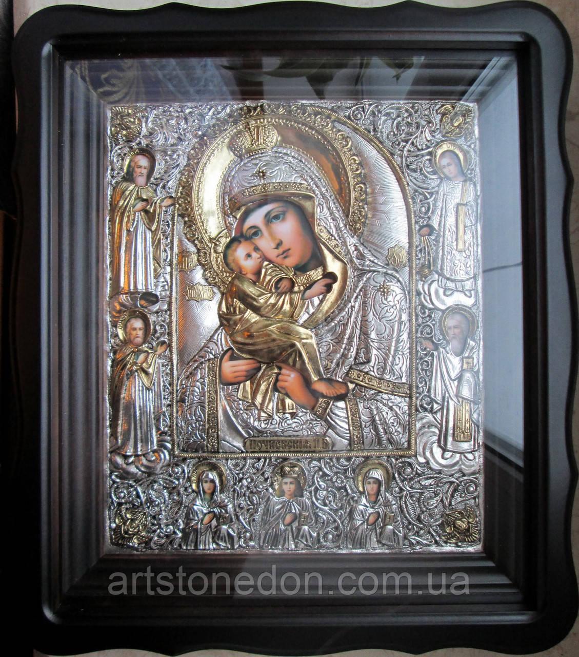 Икона с серебром и позолтой Почаевская Пресвятая Богородица