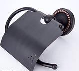 Настенный (подвесной) черный держатель для туалетной бумаги, фото 2