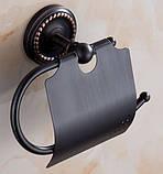 Настенный (подвесной) черный держатель для туалетной бумаги, фото 3
