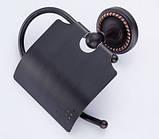 Настенный (подвесной) черный держатель для туалетной бумаги, фото 4