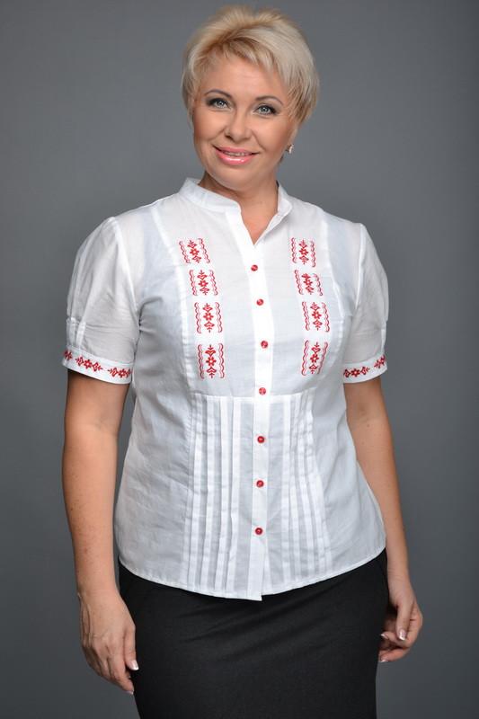 Рубашка женская вышитая с коротким рукавом Р97