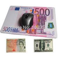 Коврик компьютерной мышки в виде доллара/евро (20*28*0.2 см), игровой коврик