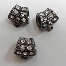 Бусина металл со стразами темное серебро подвеска