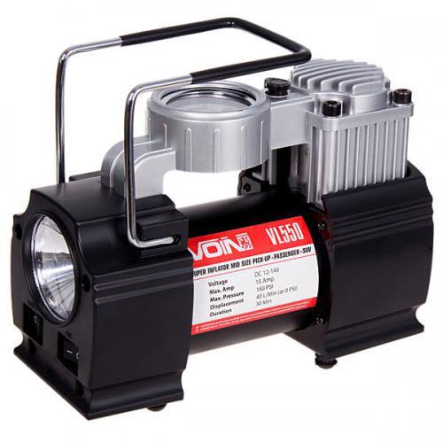 Компрессор VOIN VL-550 150psi, 15A, 40л, прикуриватель, фонарь, дефлятор, переходник на клеммы