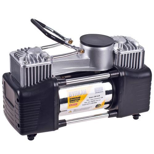 Компрессор Вулкан КА-В12121 150psi, 18A, 60л/мин, клеммы, шланг 7,5м с дефлятором, 2 цилиндра