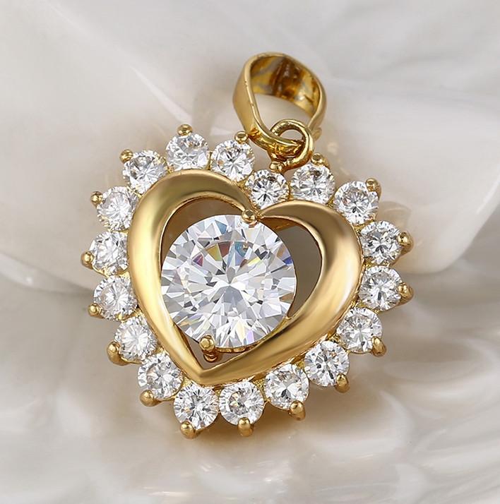 Кулон Серце з каміннями цирконію, позолота
