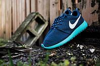 Кроссовки мужские Nike Roshe Run Blue с голубой подошвой