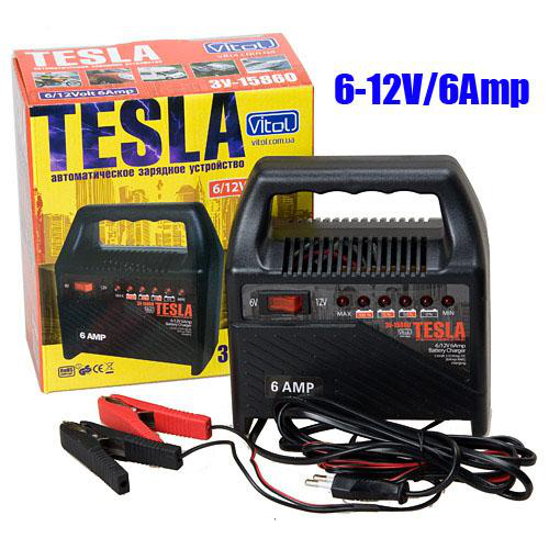 Зарядное устр-во TESLA ЗУ-15860 6-12V/6A/15-80AHR/светодиодн.индик.