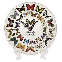 Круглые часы декоративные с принтом Бабочки 18 см