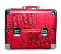 Алюминиевый кейс для косметики с выдвижными полками, цвет - красный ,кожа крокодила.