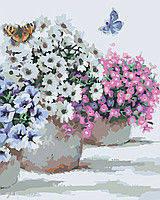 """Картина по номерам """"Цветы в горшочках"""" 40*50"""