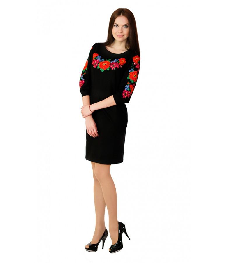 """Платье вышитое крестиком черное """"Маки с барвинком"""" """"Райский сад"""" М-1027-2"""